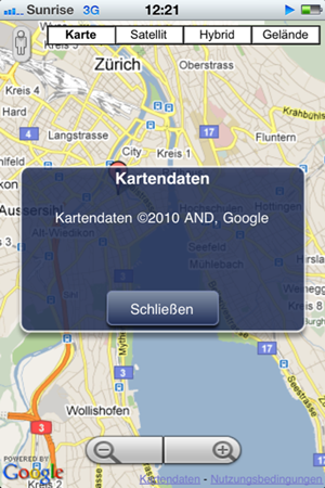 Screenshot Google Maps vom 11.11.2010
