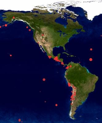 Erdbeben in Nord- und Südamerika