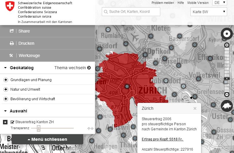 Beispiel einer KMZ Datei auf geo.admin.ch (Steuerertrag Kanton Zürich).