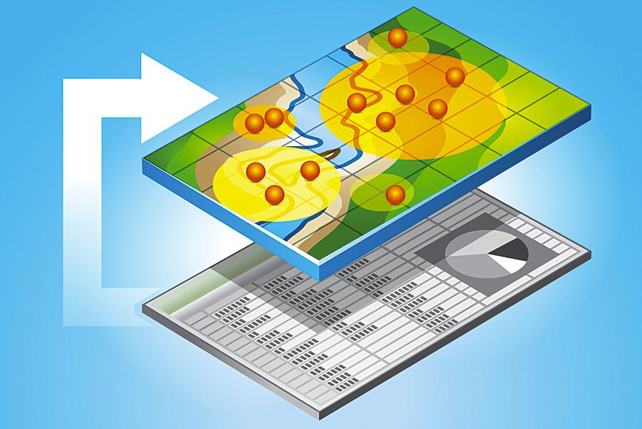 Aus grauen Excel-Tabellen können mit Esri Maps for Office interaktive Karten entstehen, welche ungeahnte Einblicke in Ihr Geschäft bzw. in Ihre Organisation offenbaren (Abbildung von Esri).