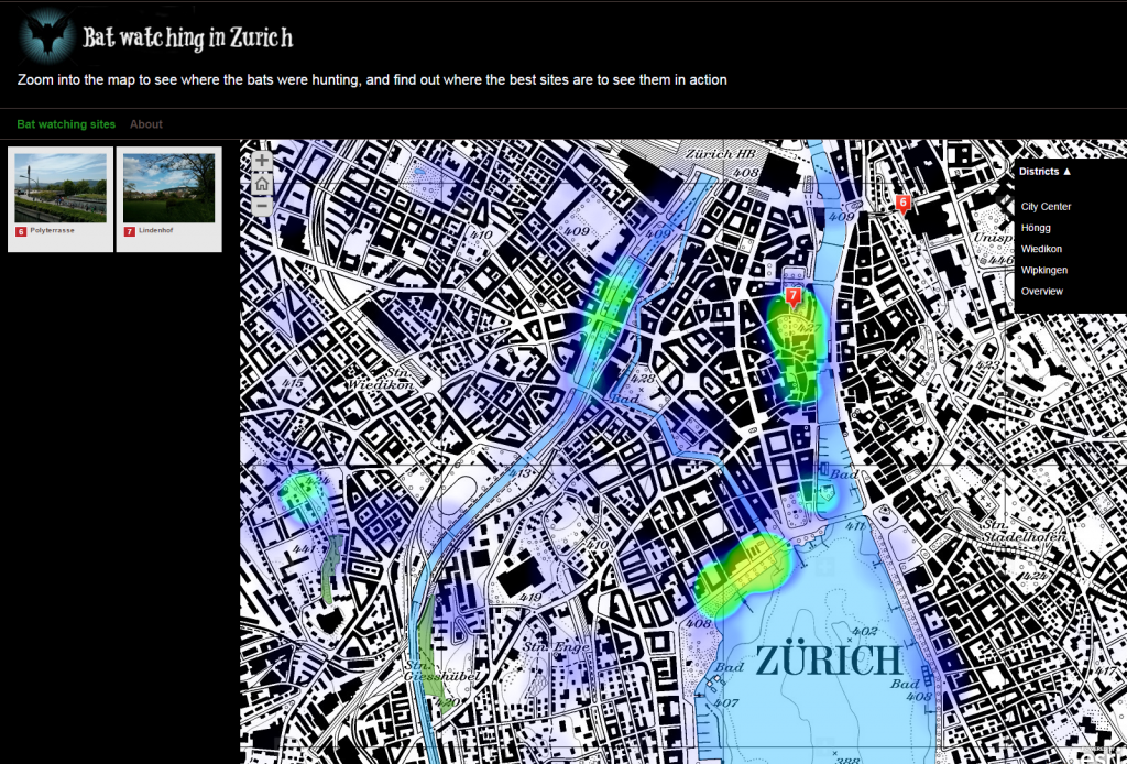 StoryMap Fledermausbeobachtung in Zürich