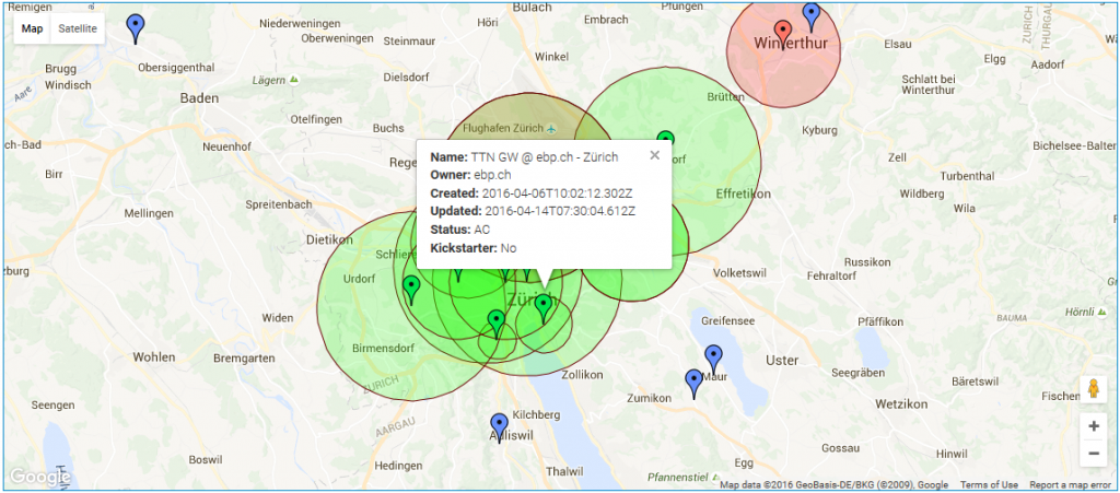 The Things Network Zurich coverage map with the EBP gateway